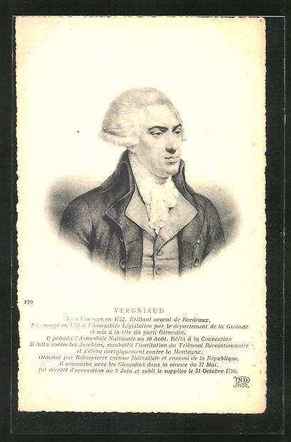 AK Brustportrait Vergniaud, 1753-1793, französische Revolution