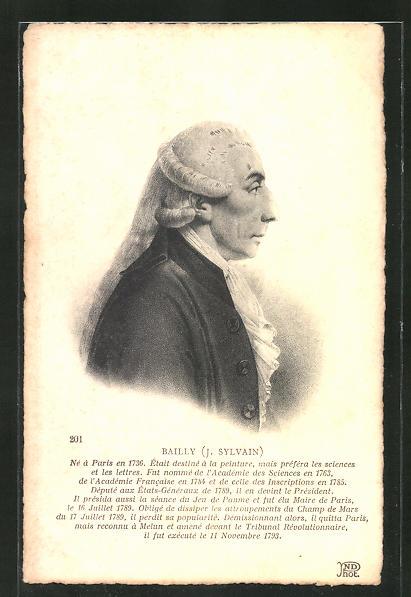 AK Portrait, J. Sylvain Bailly, 1736-1793, französische Revolution