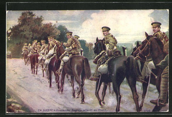 Künstler-AK Hussards Anglais allant au front, britische Husaren