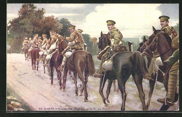 Künstler-AK Hussards Anglais allant au front, britische Husaren auf dem Weg an die Front