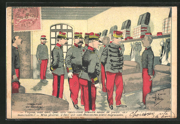 Künstler-AK Albert Guillaume: Inspection du General