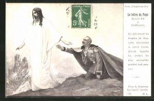 Künstler-AK S. Solomko: Propaganda Entente, Brief des Papstes, Jesus verlässt Kaiser Wilhelm II.