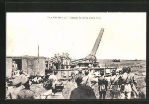 AK Camp de Mailly, Obusier de 370 m/m pret a tirer