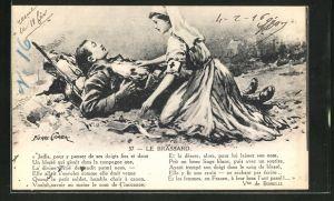 AK Krankenschwester im Felde einen verwundeten Soldaten helfend