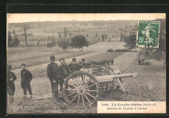 AK La Grande Guerre 1914-15, Batterie de 75 prete a l'action