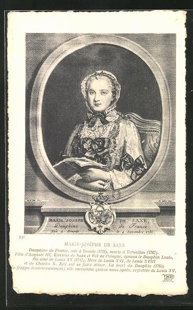 AK Portrait Marie-Josephe von Sachsen im Passepartout-Rahmen