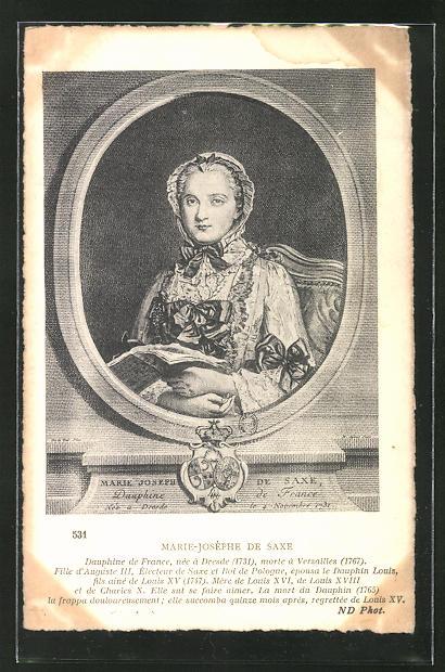 AK Marie Josephe von Sachsen, Halbportrait im Rahmen