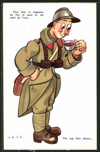 Künstler-AK sign. Cass: französischer Soldat in Uniform mit Teetasse