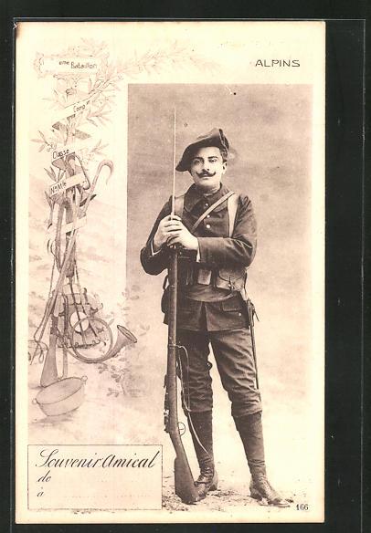 AK französischer Alpenjäger in Uniform mit Gewehr, Infanterie