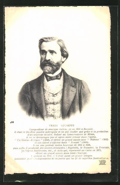 AK Portrait Verdi Giuseppe im Anzug mit Bart, Komponist, geb 1813