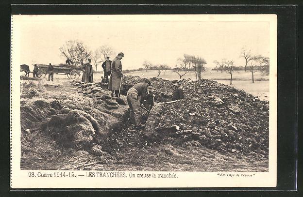 AK Soldaten heben einen Schützengraben aus