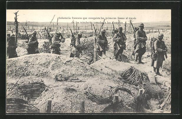 AK Soldaten nehmen einen feindlichen Schützengraben ein