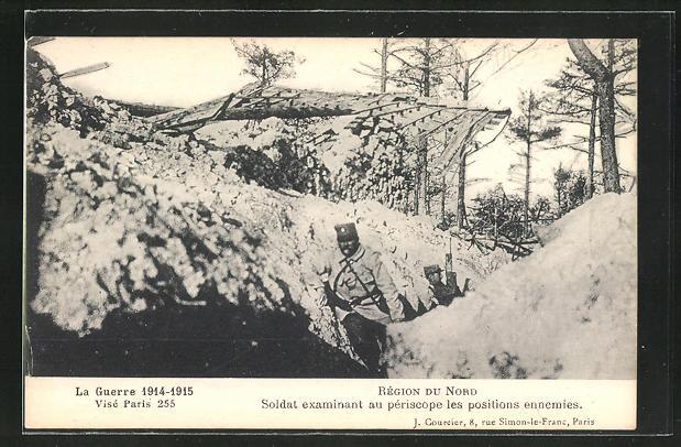 AK Soldaten im Schützengraben beobachten die Position des Feindes