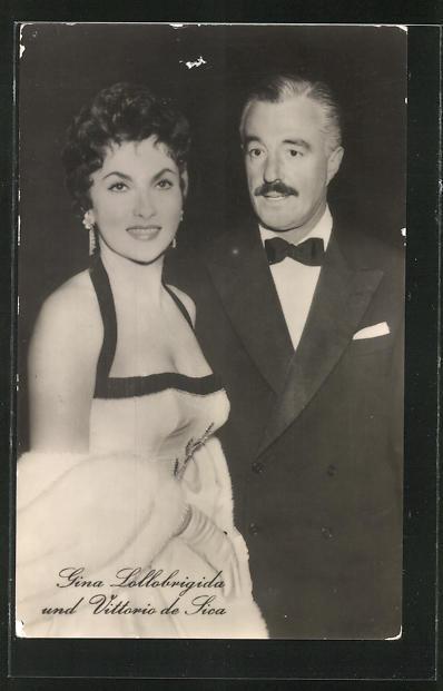 AK Schauspieler Gina Lollobrigida und Vittorio de Sica spielten u.a. zusammen im Film
