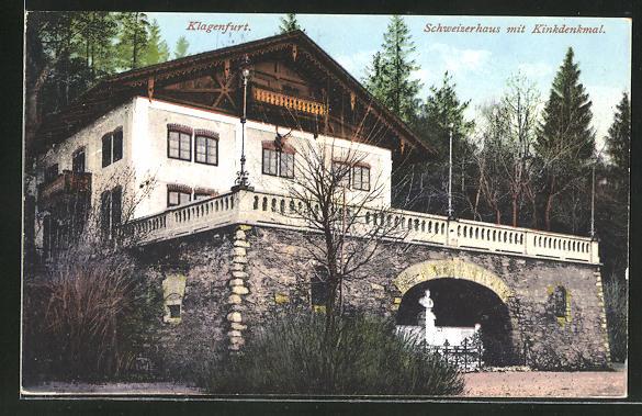 AK Klagenfurt, Schweizerhaus mit Kinkdenkmal
