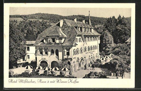 AK Velden, Hotel Mösslacher, Haus 2 mit Wiener Kaffee