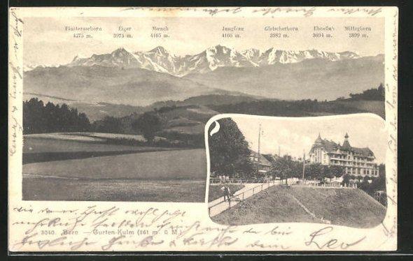 AK Bern, Strassenpartie, Bergpanorama mit Eiger, Mönch und Jungfrau