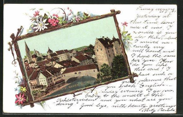 Passepartout-AK Baden, Ortspartie mit Schloss Stein