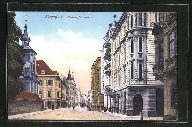 AK Klagenfurt, Blick in die Bahnhofstrasse