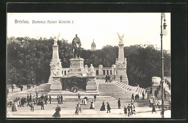 AK Breslau, Partie am Denkmal Kaiser Wilhelm I.