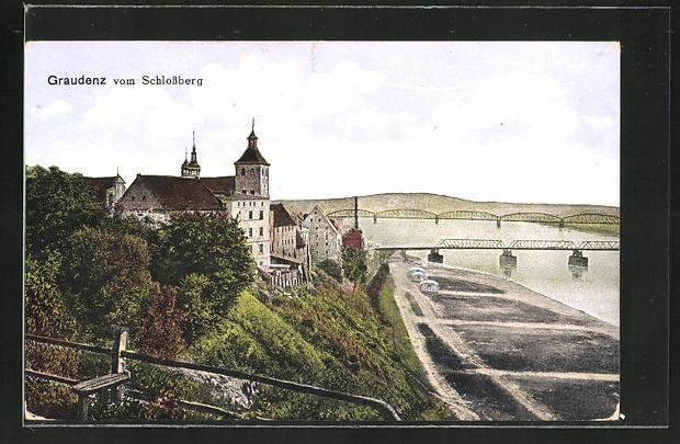 AK Graudenz / Grudziadz, Teilansicht vom Schlossberg