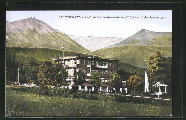 AK Steinseiffen i. Rsgb., Partie an der Kaiser Friedrich-Baude mit Blick nach der Schneekoppe