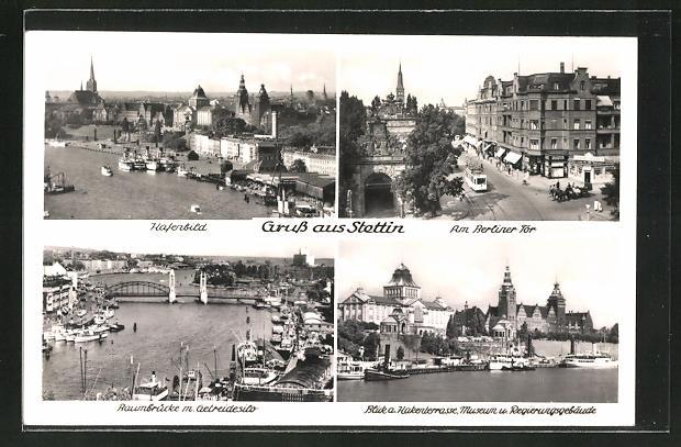 AK Stettin, Hafenbild, Am Berliner Tor, Baumbrücke m. Getreidesilo