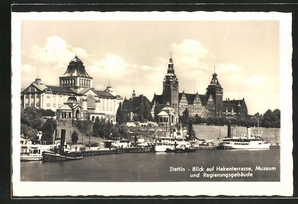 AK Stettin, Blick auf Hakenterrasse, Museum und Regierungsgebäude