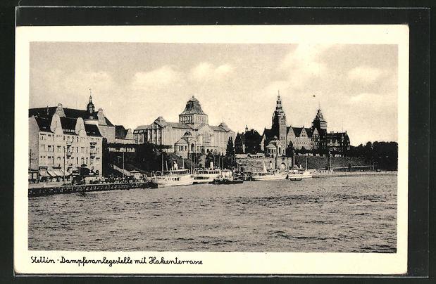 AK Stettin, Dampferanlegestelle mit Hakenterrasse