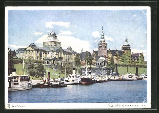 AK Stettin, Blick auf die Hakenterrasse mit Schiffen