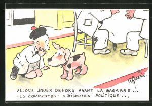 Künstler-AK sign. R. Guerin: Knabe flüstert seinem Hund ins Ohr