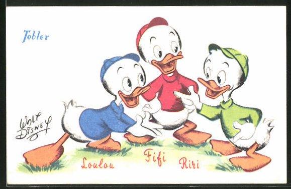 AK Donald Ducks Comic-Neffen Tick, Trick und Track, auf französisch Loulou, Fifi und Riri