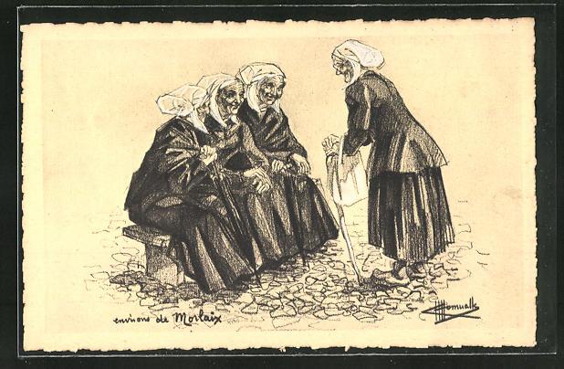 Künstler-AK Charles Homualk: Morlaix, Alte Frauen in Tracht