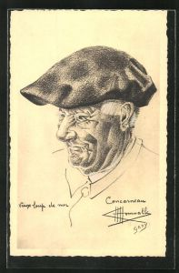 Künstler-AK Charles Homualk: Concarneau, Vieux loup de mer