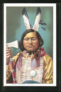 AK Portrait von einem Indianer mit einer Axt
