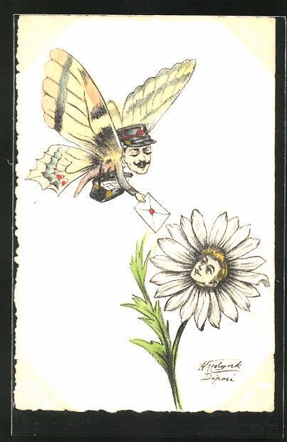 Künstler-AK sign.: Schmetterling mit menschlichem Kopf übergibt einer Blume einen Brief