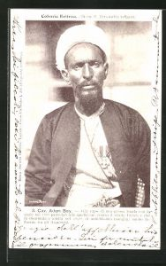 AK Eritrea, Cav. Adam Bey, Halbportrait mit Turban und Orden