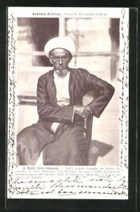 AK Eritrea, Naib Idris Hassan, della grande famiglia dei Belau, Halbportrait mit Turban