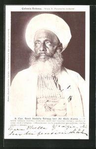 AK Eritrea, Cav. Scek Abdalla Seragg ben Ali Abdù Alama, die nobile famiglia tunisina, Halbportrait mit Bart und Turban