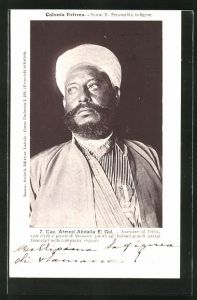 AK Eritrea, Cav. Ahmed Abdalla El Gul, Assessore al Tribunale civile e penale di Massaua, Halbportrait mit Turban