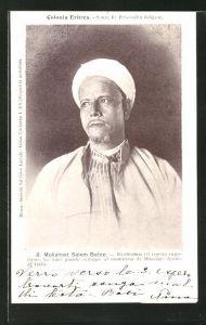 AK Eritrea, Mohamed Salem Batoc, Ricchissimo ed esperto negoziante, Halbportrait mit Turban