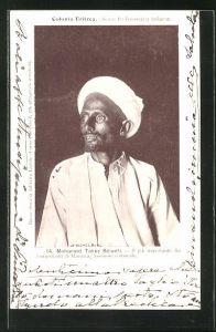 AK Eritrea, Mohamed Taher Sciueti, Il più importante fra i negozianti di Massaua, Halbportrait mit Turban