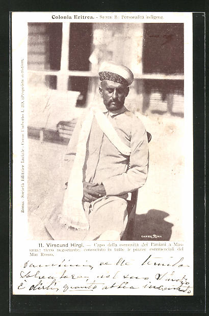 AK Eritrea, Virscund Hirgi, Capo della communità deil Paniani a Massaua, Halbportrait mit Turban und Schal