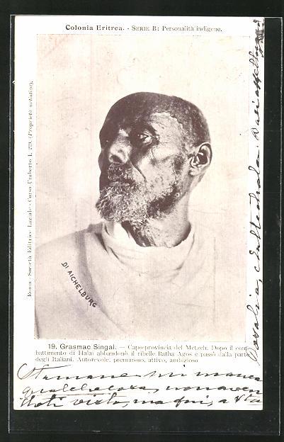 AK Eritrea, Grasmac Singal, Capo-provincia del Metzeh, Halbportrait