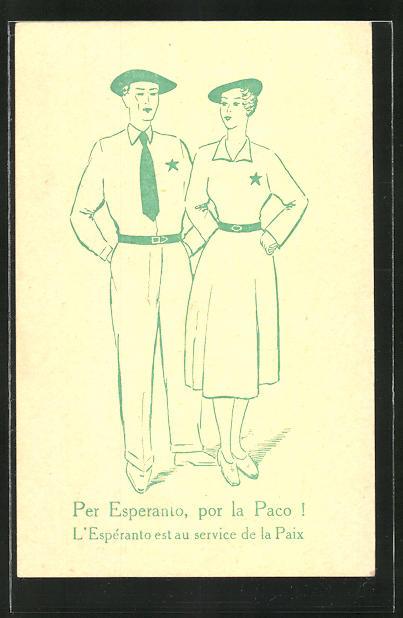 AK Paar mit Stern an Hemd und Bluse, Esperanto