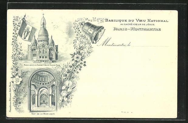 AK Paris-Montmartre, Basilique du Voeu National au Sacre-Coer de Jesus, Nef de la Basilique mit Glocke