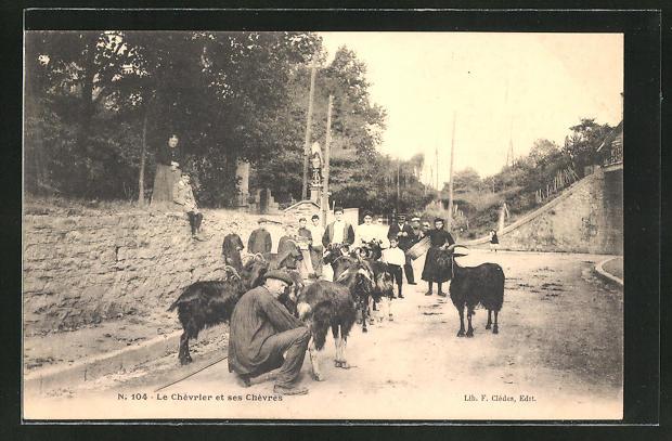 AK Ziegenherde auf der Strasse mit Passanten