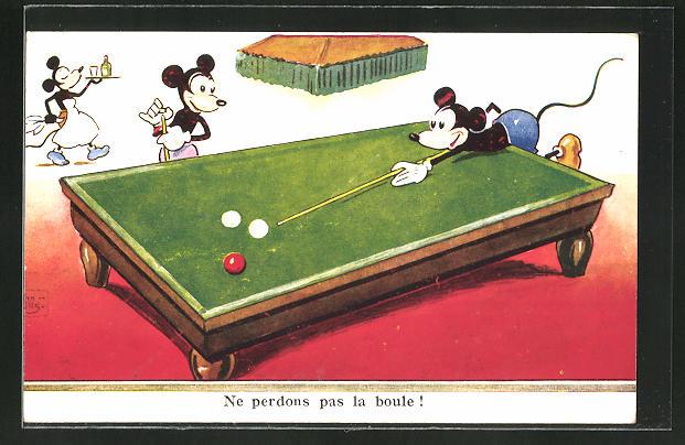 AK Comicartige Zeichnung von drei Mäusen die Billard spielen