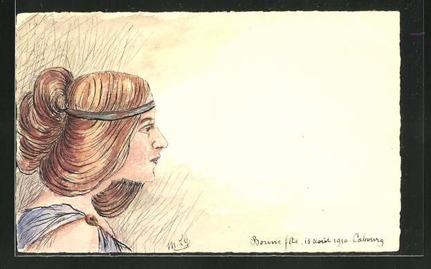 Künstler-AK Handgemalt: Profil einer Frau mit braunen zusammen gesteckten Haaren