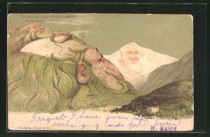 AK Berg mit Gesicht, Berggesichter von einem Mann und in der ferne eine Frau, Killinger Nr. 104